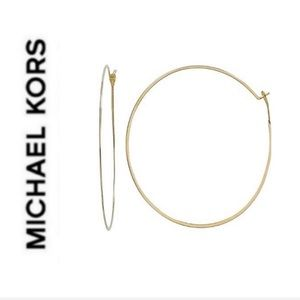 NWT authentic MK gold tone light hoop earrings